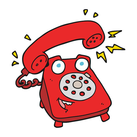 ringing: freehand drawn cartoon ringing telephone Illustration