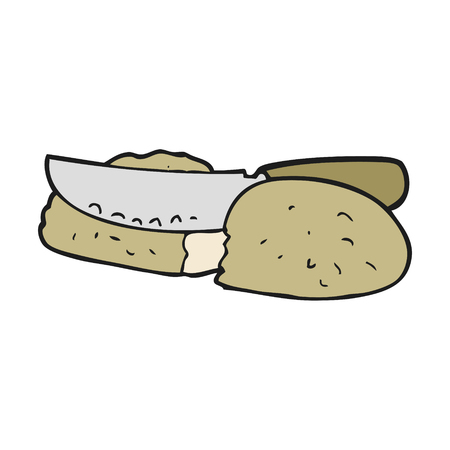 freehand drawn cartoon slicing bread  イラスト・ベクター素材