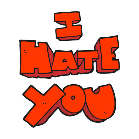 hate: I hate you freehand drawn cartoon symbol