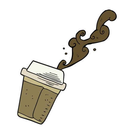 coffee spill: freehand drawn cartoon spilling coffee Illustration