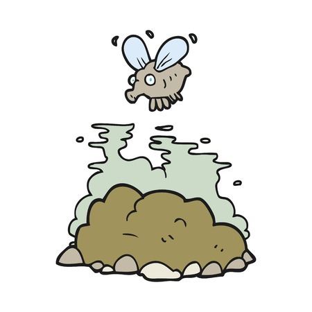 manure: freehand drawn cartoon fly and manure
