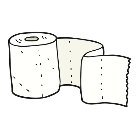 toilet roll: freehand drawn cartoon toilet roll Illustration