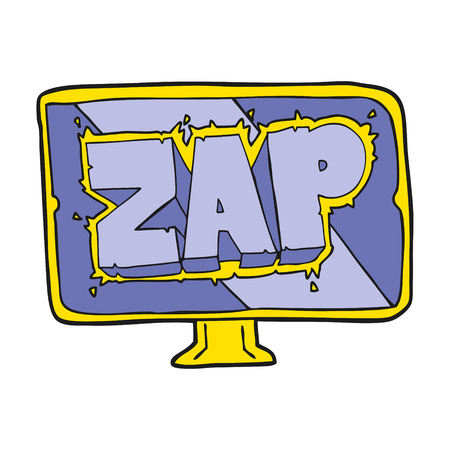 freehand drawn cartoon zap screen Illustration