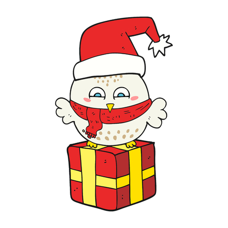 wrapped present: freehand drawn cartoon cute christmas owl on wrapped present Illustration