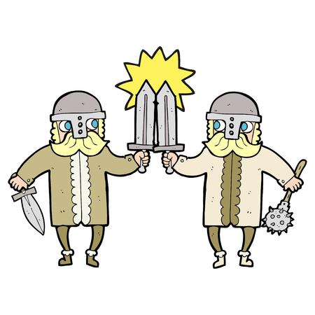 warriors: freehand drawn cartoon viking warriors Illustration