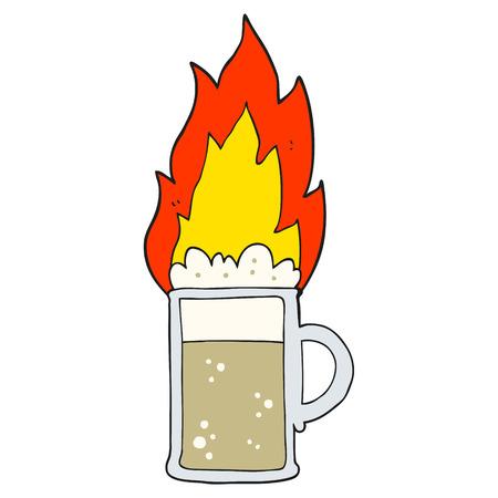 flaming: freehand drawn cartoon flaming tankard of beer Illustration