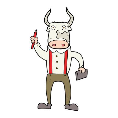 bull pen: freehand drawn cartoon bull man Illustration