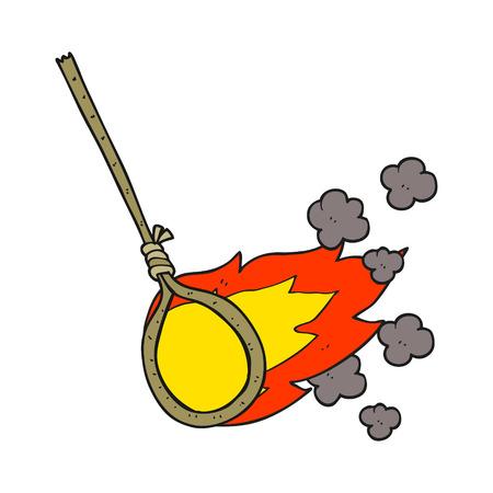 flaming: freehand drawn cartoon flaming noose