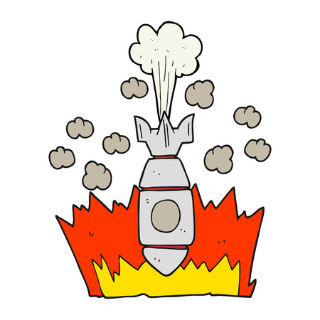 cartoon bomb: freehand drawn cartoon falling bomb Illustration