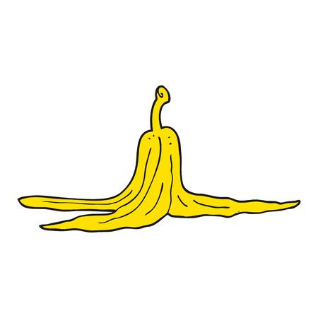 banana peel: freehand drawn cartoon banana peel