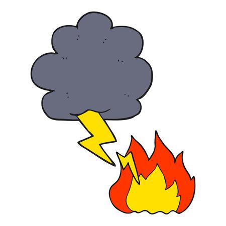 lightning strike: freehand drawn cartoon thundercloud lightning strike
