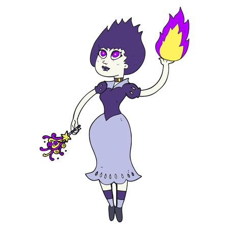 casting: freehand drawn cartoon vampire girl casting fireball