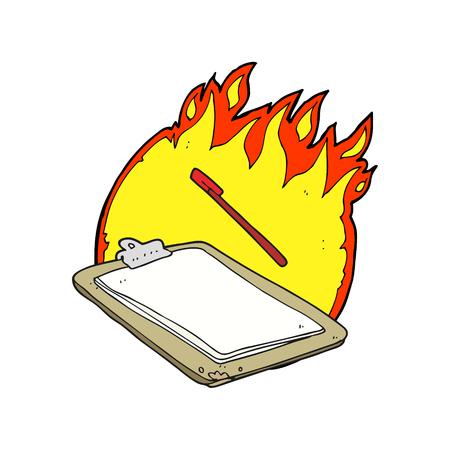 clip board: freehand drawn cartoon clip board on fire