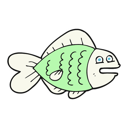 funny fish: freehand drawn cartoon funny fish