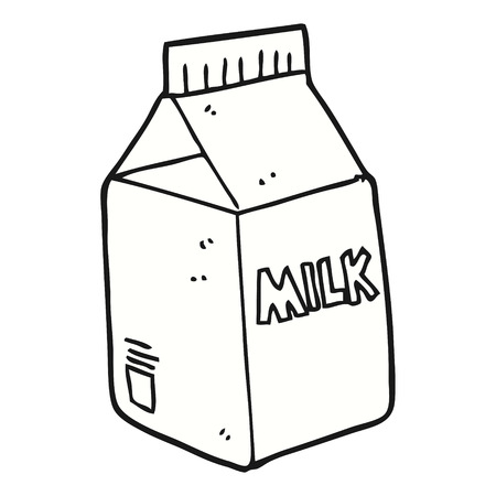 envase de leche: a mano alzada dibujo animado hecho cartón de leche