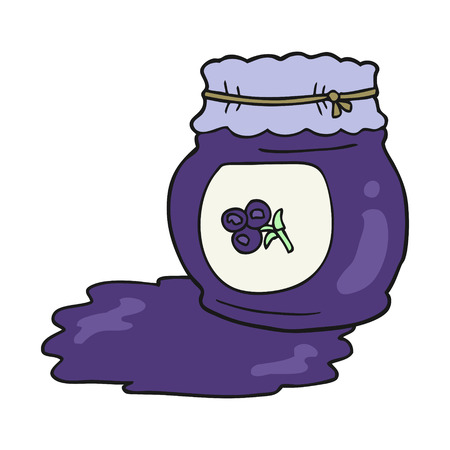 freehand drawn cartoon blueberry jam