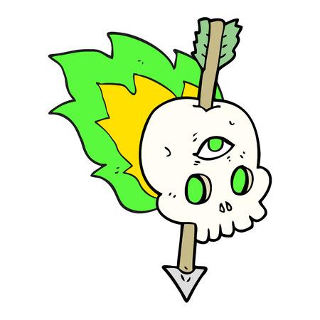third eye: freehand drawn cartoon magic skull with arrow through brain Illustration