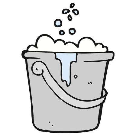 suds: freehand drawn cartoon cleaning bucket Illustration