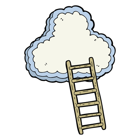 heaven: freehand drawn cartoon ladder to heaven