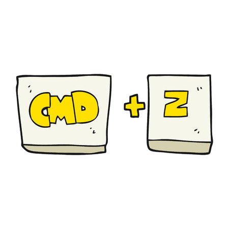 command: freehand drawn cartoon command Z function Illustration