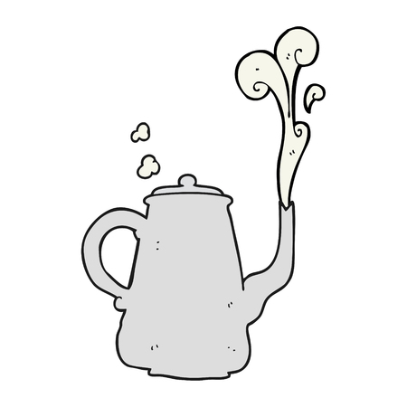 steaming: freehand drawn cartoon steaming  coffee pot