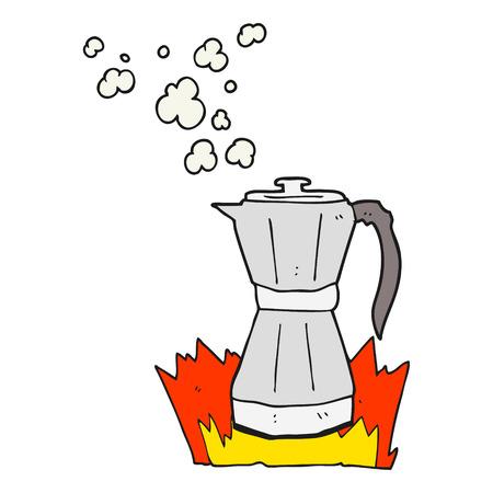 stovetop: freehand drawn cartoon stovetop espresso maker