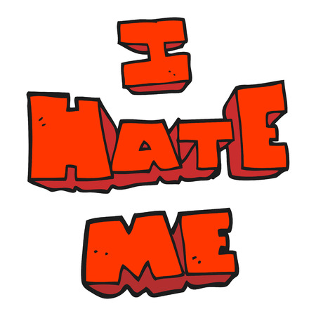 me: I hate me freehand drawn cartoon symbol Illustration