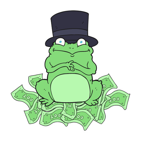top hat cartoon: freehand drawn cartoon rich frog in top hat