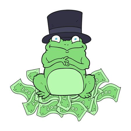 scheming: freehand drawn cartoon rich frog in top hat
