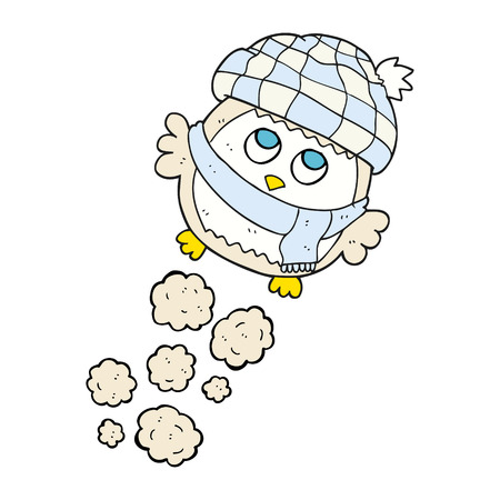 flying hat: freehand drawn cartoon cute little owl flying Illustration