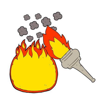flaming: freehand drawn cartoon flaming torch Illustration