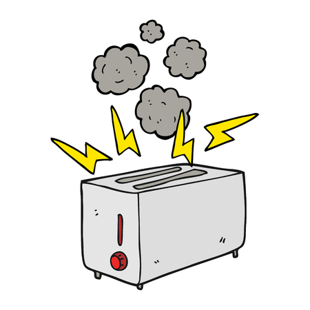faulty: freehand drawn cartoon faulty toaster