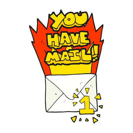 have: freehand drawn cartoon you have mail symbol