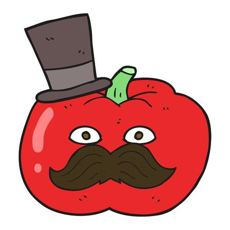 posh: freehand drawn cartoon posh tomato