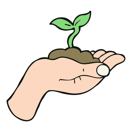 seedling growing: freehand drawn cartoon seedling growing held in hand Illustration