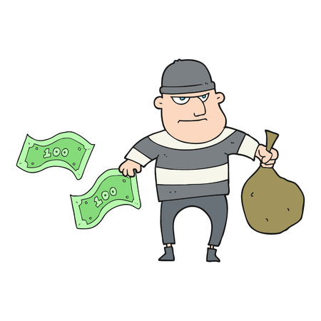 bank robber: freehand drawn cartoon bank robber Illustration