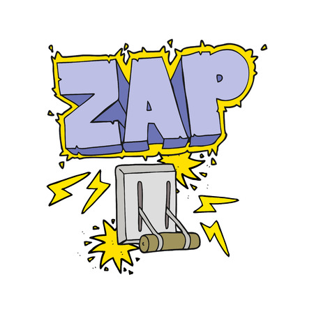 zapping: freehand drawn cartoon electrical switch zapping