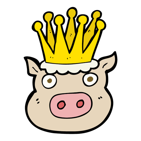 crowed: freehand drawn cartoon crowned pig Illustration