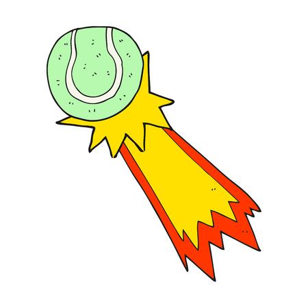 serve: freehand drawn cartoon tennis ball serve Illustration
