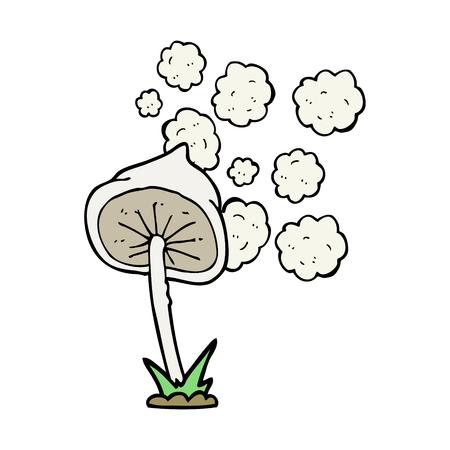 spores: freehand drawn cartoon mushroom Illustration