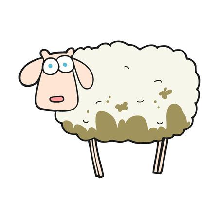 muddy: freehand drawn cartoon muddy sheep