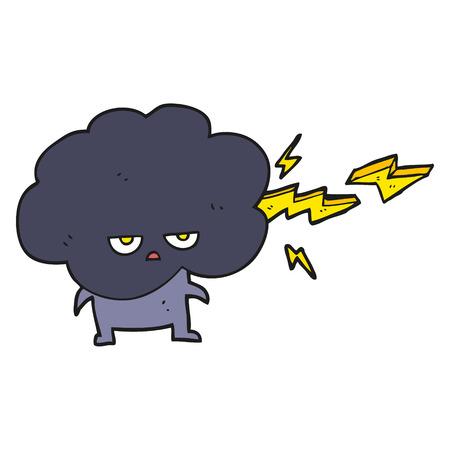stormcloud: freehand drawn cartoon raincloud character shooting lightning