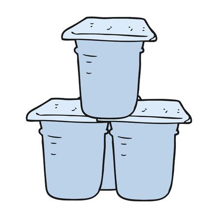 yoghurt: freehand drawn cartoon yogurt pots Illustration