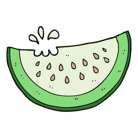 melon: freehand drawn cartoon melon slice