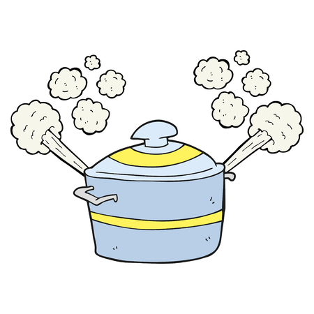 steaming: freehand drawn cartoon steaming cooking pot