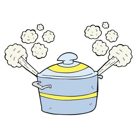 uit de vrije hand getekende cartoon dampende kookpot