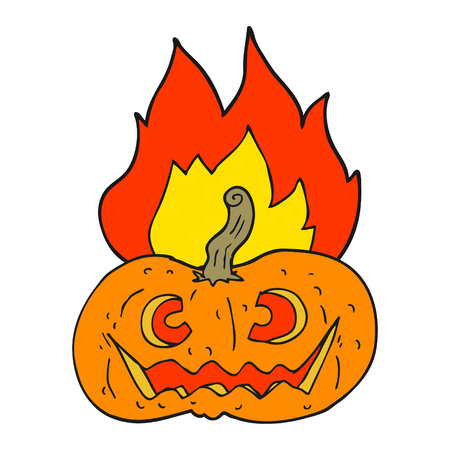 flaming: freehand drawn cartoon flaming halloween pumpkin Illustration