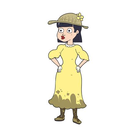 freehand drawn cartoon woman in sensible dress 矢量图片