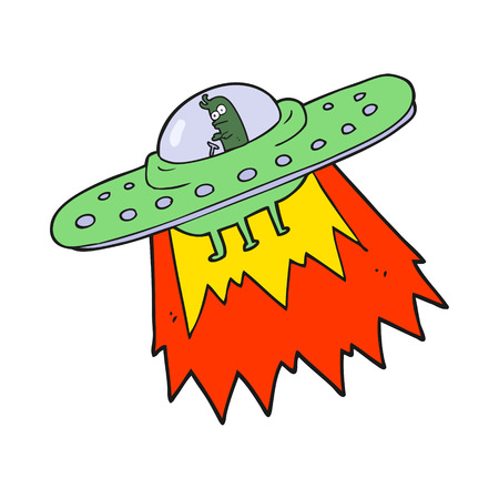 freehand drawn cartoon ufo