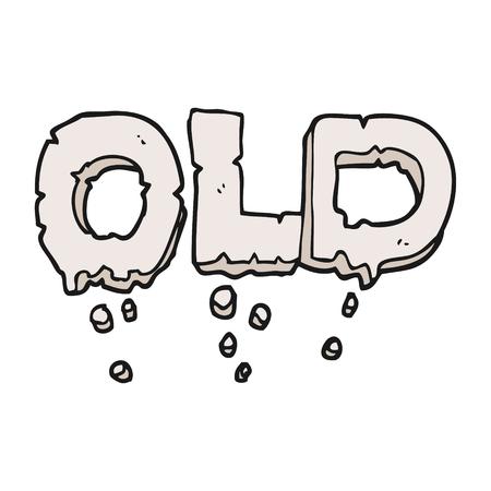 crumbling: freehand drawn cartoon word old Illustration